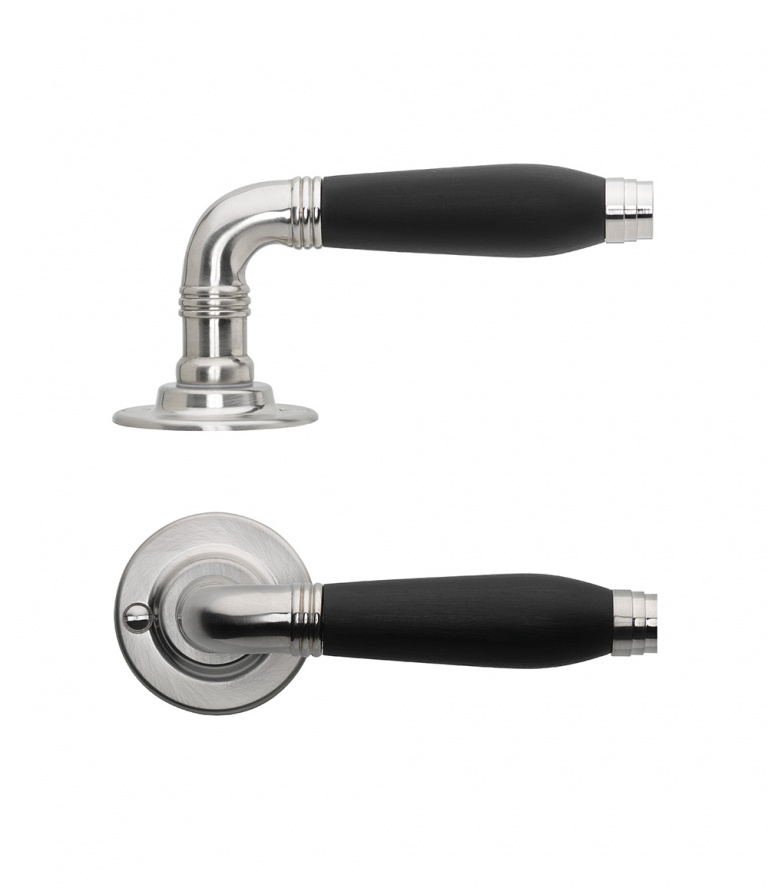 Bright nickel lever handle combined with ebony wood