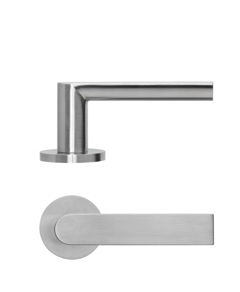 Solid lever handle on rose