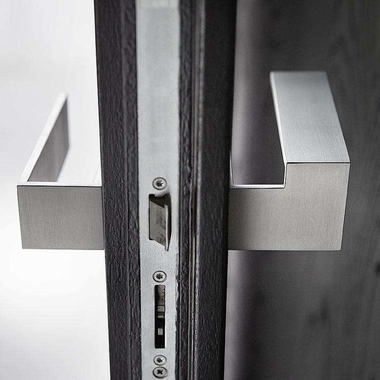satin stainless steel door handle