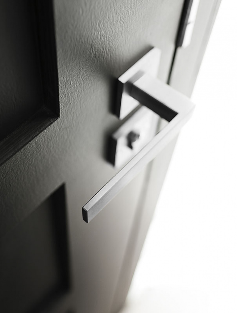 Satin stainless steel door handle detail