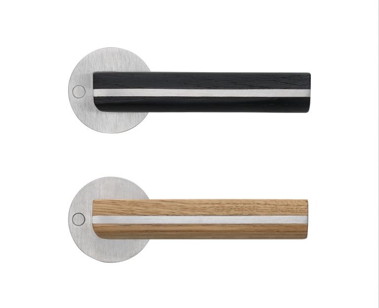 manilla de la puerta madera de roble (negro y natural)