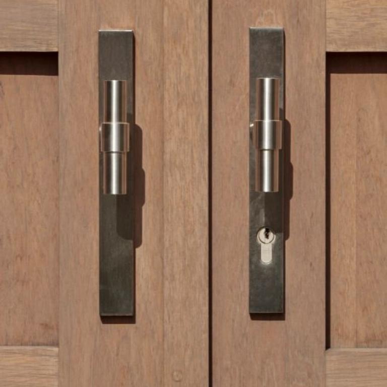 Herraje de puerta de entrada PVD mate acero inoxidable