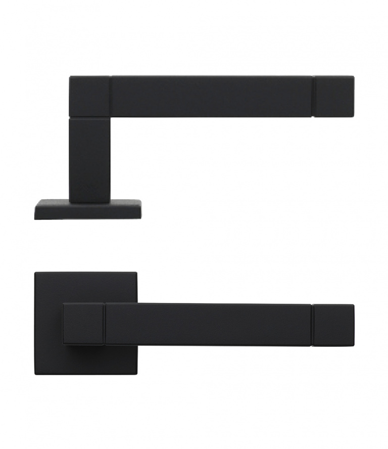 SQUARE door handle satin black on rose